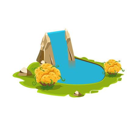 pond water: Island with a Lake and Waterfall. Cartoon Vector Illustration Illustration
