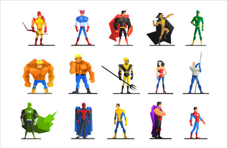 muscule: Superheroes in Different Poses and Costumes Vector Illustration Set