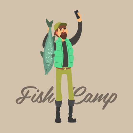 fisher: Fisher Making a Selfie with a Fish. Vector Illustration Collection