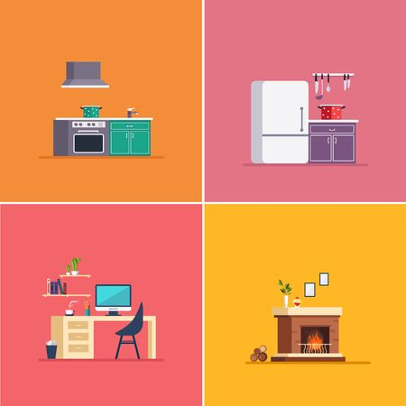 Interiors Type. Vector Illustration Collection flat design