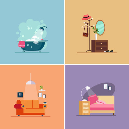 chest wall: Interior Design Room Types. Vector Illustration Collection