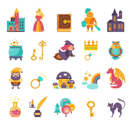 snow queen: Collection of vector fairy tale elements, icons and illustrations Illustration