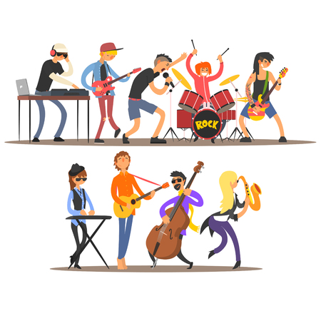 guy playing guitar: Musicians and Mucical Instruments. Flat Vector Illustration