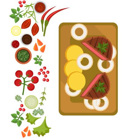 Served Steak on Plate. Flat Vector Illustration Illustration