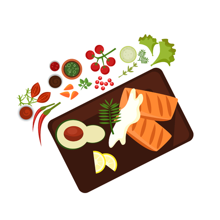 cooked: Cooked Steak on Plate. Flat Vector Illustration