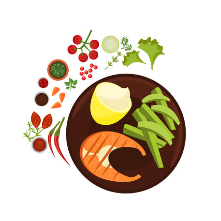 grilled salmon: Salmon Grilled Steak on Plate. Flat Vector Illustration