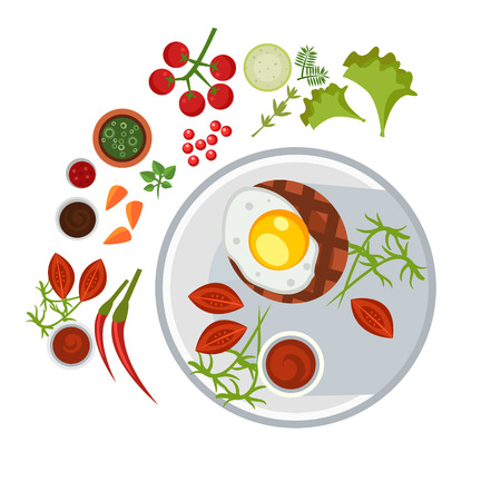 steak plate: Grilled Steak with an Egg on Plate. Flat Vector Illustration
