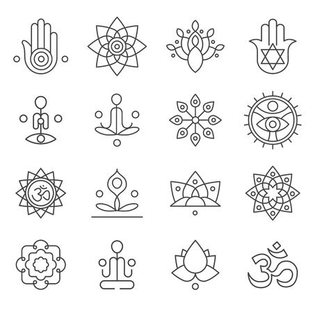 Vector iconos de yoga e insignias de línea, elementos de diseño gráfico o plantillas de logotipo para centro de spa o estudio de yoga