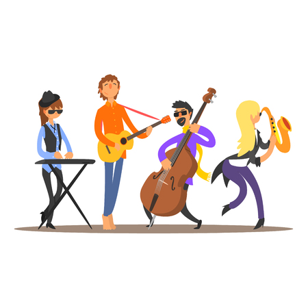 Musicians on the Stage. Flat Vector Illustration