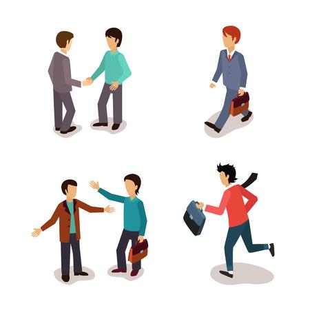 llegar tarde: La gente com�n. Actividades diarias. Vector Illustartion Colecci�n Vectores