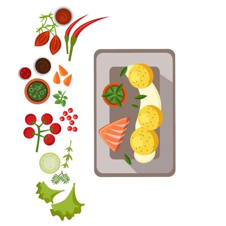grilled salmon: Grilled Salmon on Plate. Flat Vector Illustration Illustration