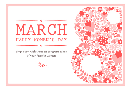 Greeting card with March 8. Flower Vector Illustration