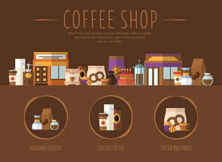 커피 샵. 웹 사이트, 첫 페이지에 대한 디자인 플랫 벡터 일러스트 레이션
