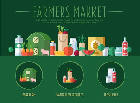 agricultor: Mercado de los granjeros. Diseño plano Ilustración vectorial para el sitio web, primera página Vectores