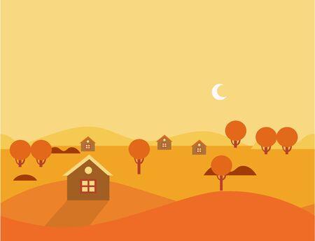 cute house: Orange Seamless Cartoon Nature Landscape, Flat Vector Illustration