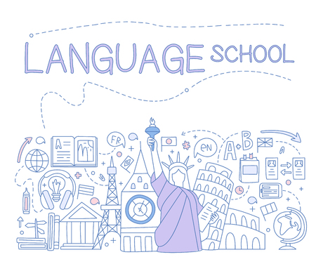 Language School Infographics. Hand drawn Vector Illustration Design for the web site, first page