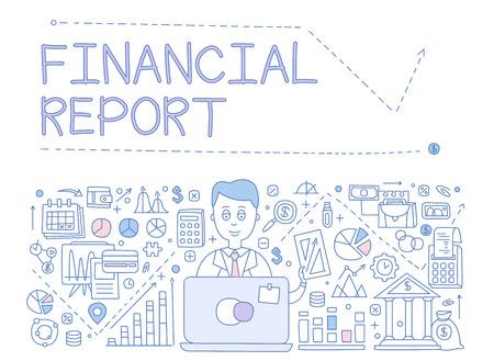 財務報告のインフォ グラフィック。Web サイトの描画ベクトル イラスト デザインを手、最初のページ