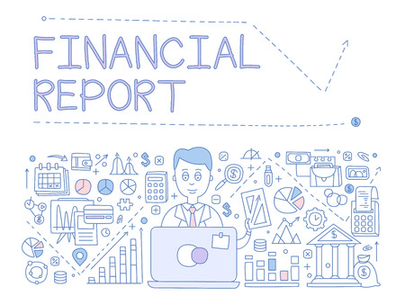 Financial Report Infographics. Hand drawn Vector Illustration Design for the web site, first page