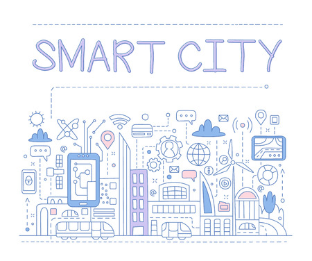 Smart City. Hand drawn Vector Illustration Design for the web site, first page Illustration