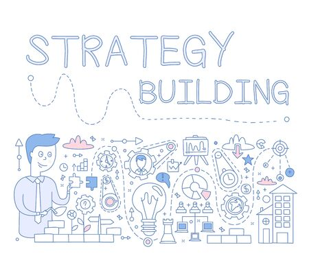 Strategy Building. hand drawn Vector Illustration Design for the web site, first page