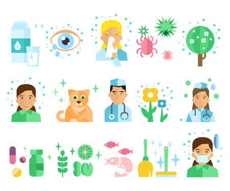 pollen: Allergy icon Colourful Concept Flat Illustration