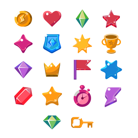 aplication: Computer Game Icon set of colourful characters, games and decor Illustration