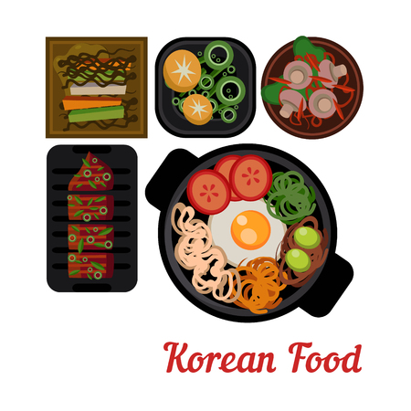 Food Illustration Korean food Illustration. Dishes in Plates Top View