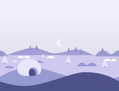 arctic landscape: Seamless Cartoon Nature Arctic Landscape, Flat Illustration Illustration