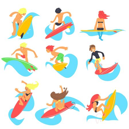 surf team: Surfing People. Colorful Flat Illustration  Collection