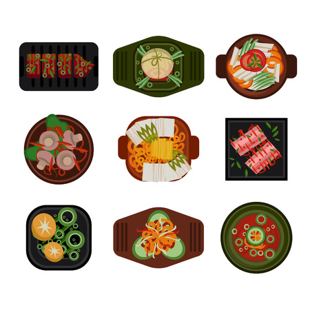 Food Illustration Korean food Vector Illustration. Dishes in Plates Top View