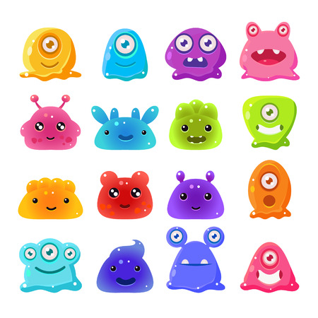 Cute Cartoon Jelly Monsters, Vector Illustration Set