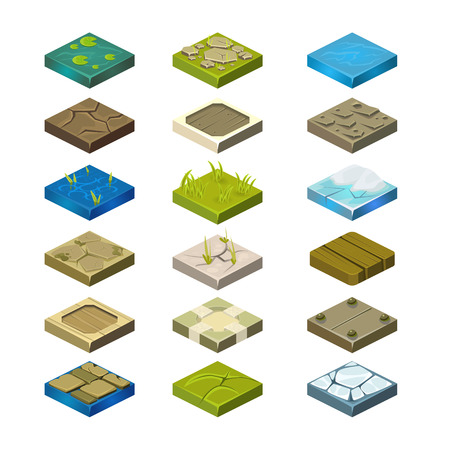 Isometric Vector Platforms Collection set different textures of soil