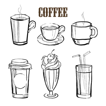 Coffee. Hand drawn Vector Illustration Collection Set