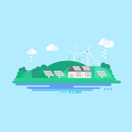 Eco Energy Landschap. Kleurrijke Concept Flat Vector Illustration Stock Illustratie