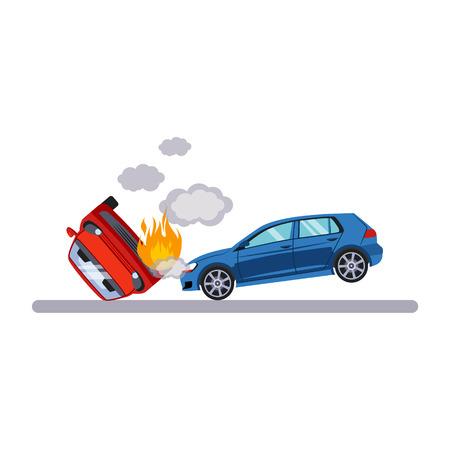 fire safety sign: Car and Transportation Situation. Flat Vector Illustration Illustration
