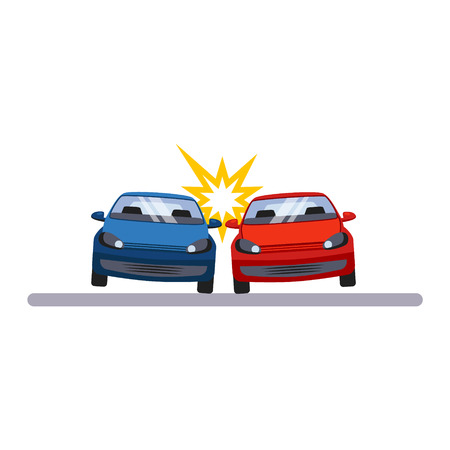 car security: Car and Transportation Accident. Flat Vector Illustration
