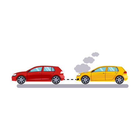 towing: Car and Transportation. Towing Cars. Flat Vector Illustration Illustration
