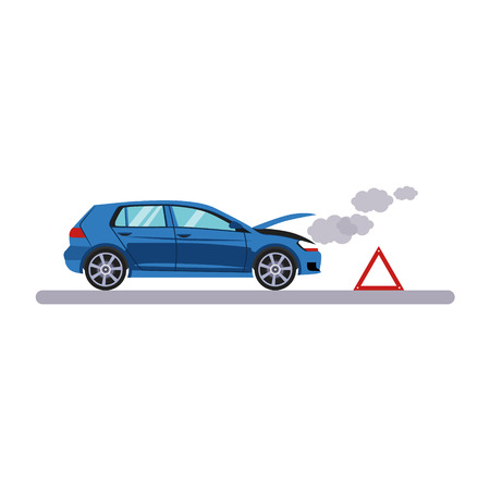 breaking wheel: Car and Transportation Breakdown. Flat Vector Illustration Illustration