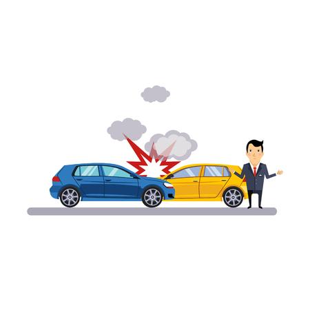 車と交通衝突。フラットのベクトル図  イラスト・ベクター素材