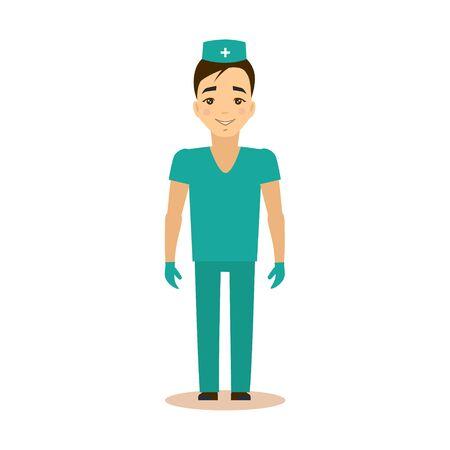 uomini belli: Illustrazione medico piatto vettoriale. Carriera scelta concetto