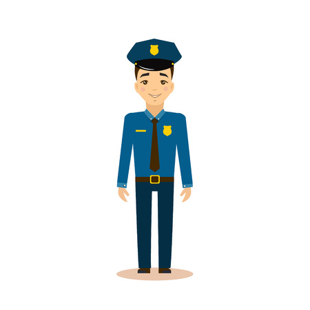policeman: Policeman Flat Vector Illustration. Career choice concept