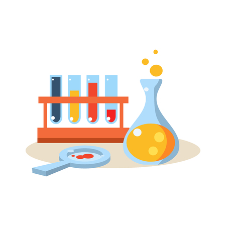 boiling tube: Chemistry. Education Flat Design Colorful Vector Illustration Illustration