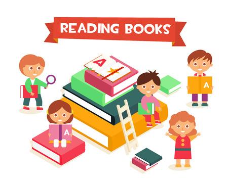 figura humana: Los ni�os la lectura de libros, plana isom�trica ilustraci�n vectorial Vectores