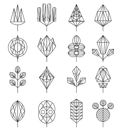 Ensemble d'icônes abstraites de fleurs et d'arborescence