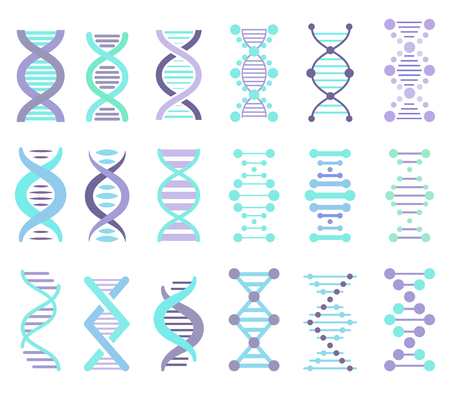 genomes: DNA Strands Vector Set, DNA, genetic sign, elements and icons collection Illustration