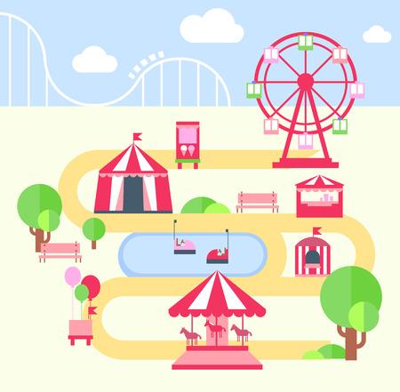 niños jugando en el parque: Parque de atracciones, elementos planos illustartion vector de infografía Vectores