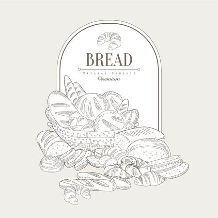 grocer: Bread. Hand drawn Vector Illustration Banner, Organic food sketch background. Vector frame design