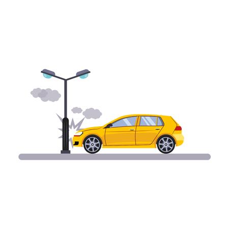 Voiture et transport Problème avec une lampe. Flat Vector Illustration