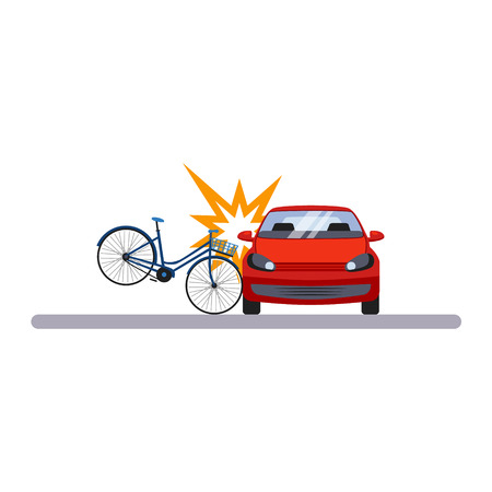 Voiture et transport. Voiture et vélo. Illustration vectorielle plane