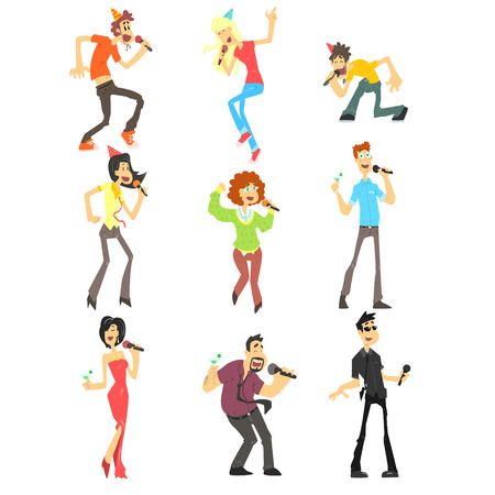 pop singer: People Singing Karaoke, Flat Vector Illustration Collection